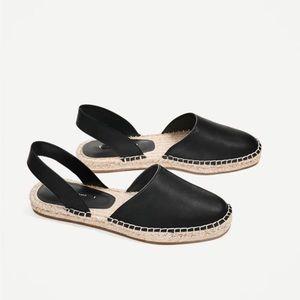 Zara sling back Black leather espadrilles sz 39/8
